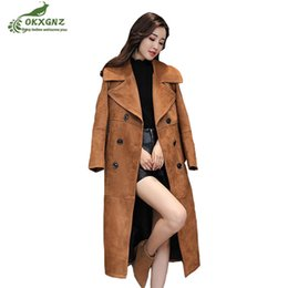 Wholesale Over Knee Suede Beige - Autumn windbreaker women medium long section new spring loose Suede coat women large-size over the knee fashion coat clothing
