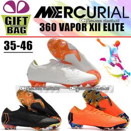 Nuevo Outdoor Boys Youth Fútbol calas para hombres Mercurial Vapor XII  Elite FG Womens Soccer Shoes Niños Fútbol botas Blanco Naranja Negro 35-46 7521a321607b1