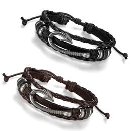 2019 haken armband manschette Männer Frauen Tribal Nautical Fish Haken Leder Wrap Surfer Armband Armreif Manschette Armband Schmuck rabatt haken armband manschette