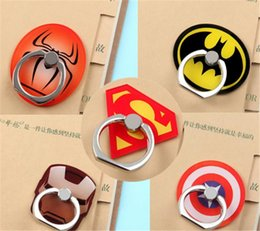 Wholesale Cool Spider - 2018 Universal Cute Cartoon Finger Ring Mobile Phone Holder Stands Cool Cartoon Superman Spider-man Smartphone Rings