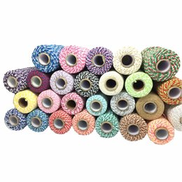 Wholesale Cotton Twine - 100meters roll 2MM Bakers Twine String Cotton Cords Rope for Home Decor Handmade Christmas Part Boxes Gift Packing Craft DIY