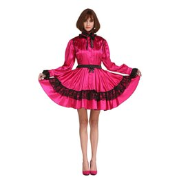 Wholesale Plus Size Girls Uniforms - New Arrival Sissy Girl Plus Size French Maid Long Sleeve Rose Red Dress Crossdress Outfit Uniform Cosplay Crossdressing