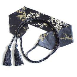 Cinturón japonés Obi Cinturón Mujeres Vintage floral impreso Yukata Sash Tie Japonés Kimono Satén Cintura ancha corsé Cummerbunds desde fabricantes
