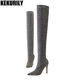 a8408bbd3e Sexy Glitter Over the Knee Boots Women Shoes High Heels Sock Thigh high  Boot fashion bling ladies Winter long Booties Black gray on sale