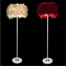 Wholesale Floor Lamp Remote Control - Modern Creative Luxurious Feather Iron Led Floor Lamp for Living Room Bedroom Bar H 150cm Multicolors Feather Floor Lights 2194