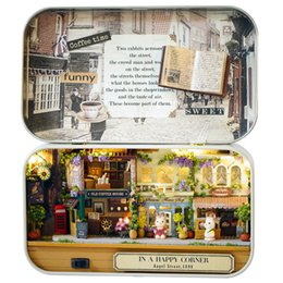 Wholesale miniature dollhouses - DIY Doll House Box Theatre Nostalgic Theme Miniature Scene Wooden Dollhouse Miniature Toy Furnitures In A Happy Corner Q005