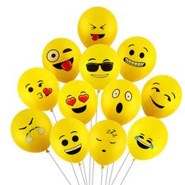 ballons souriants Promotion 100 PCs 12 pouces Emoji Ballons Smiley Visage Expression Jaune Ballons En Latex Ballons De Mariage De Fête Dessin Animé Ballons Gonflables