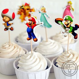 topper picks for cupcakes Promo Codes - 72pcs Super Mario Bros Luigui Mario Browser Toad Peach Daisy cupcake toppers picks party decoration for Kids birthday supplies
