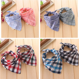 Wholesale Cute Small Boys - Baby Bandana Bibs cute The new bandage wild child baby bibs small square boys and girls double side yarn plaid scarf Babador