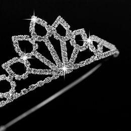 Wholesale Wholesale Rhinestone Pageant Crowns - Girl Crystal Wedding Princess Tiara Headband Rhinestone Pageant Crowns For Kids Bride Hair Accessories Free Shipping 10pcs  Lot