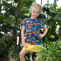 Wholesale Wholesale Jersey Shorts - 2018 Summer New Girls Dress with Flamingo Embroidered Appliques Jersey Short Sleeve Striped Animal 100% Cotton Dress