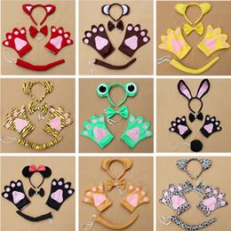 Bandas para la cabeza de disfraces de animales online-Orejas de animales diadema conjuntos headwear + guantes + collar + kit de cola conjunto Halloween Navidad traje de Pascua accesorios para niños adultos HH7-1340
