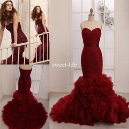 Wholesale Personalized Chocolates - 2018 Burgundy Prom Dress Leighton Meester Celebrity Plus Size Personalized Wine Red Burgundy Flouncing Organza Hot Mermaid Bridal Gowns