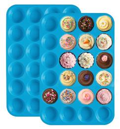 Wholesale Mini Pancakes - Mini Muffin Cake Mold 24 Cupcakes Silicone Mold Cake Cupcake Pancakes Non-stick Tray Bakeware Tools