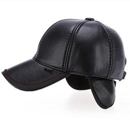 6ac4e1d968d HT1874 Men Winter Hat PU Leather Baseball Cap Men Adjustable Baseball Hat  Thick Warm Snapback Cap Casual Dad Hats with Ear Flap discount baseball hat  ear ...