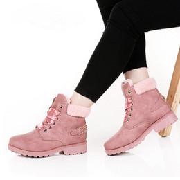Argentina 2018 New Pink Women Boots Lace up Solid Botines casuales Botines punta redonda Zapatos de mujer botas de nieve de invierno cálido estilo británico supplier round toe women ankle boots Suministro