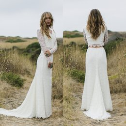 Wholesale Two Tiered Wedding Dress - 2018 Modern Long Sleeve Wedding Dresses Two Pieces V Neck A Line Full Lace Sweep Train Bohemian Beach Bridal Dress BA7393