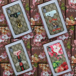 Wholesale tiger cards - Luxury brand printing tiger snake flower bee phone case for iphone X 7 7plus 8 8plus card slot hard cover for iphone 6 6S 6plus