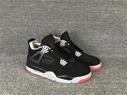 Descuento zapatos de satén online-Descuento 4 bred IV OG negro rojo bajo hombre baloncesto zapatillas deportivas zapatillas de deporte entrenadores al aire libre de alta calidad tamaño 7-12