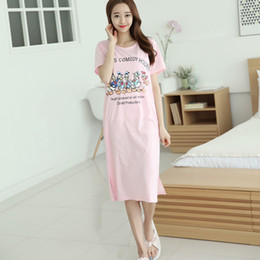 ea72dc3b0 female sleepwear shirt Canada - New women summer sleepshirt cotton short- sleeved nightdress casual clothes