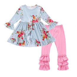 Wholesale dovetail shirts - Cute Baby Kids Girls Clothes Flower Floral T-shirt Dovetail Dress + Pants Tights 2pcs Outfit Sets 2018 Children Girls Clothing Set A8383