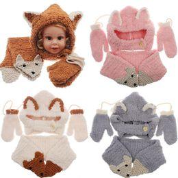 ef77b5eb6ce5c Baby Knitted Hat Scarf Gloves Set Fox Design Winter Warm Kids Boys Girls  Beanies Caps 3pcs set NNA858