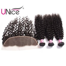Wholesale Cheap 12 Inch Curly Hair - UNice Hair 8a Ear to Ear Virgin Malaysian Curly Wave Bundles With Frontal Hair Weaves With 13x4 Lace Closure Frontals Cheap Bulk Wholwsale