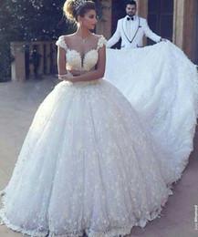 robe chic Rabatt Ballkleid Brautkleider Für Braut Sagte Mhamad 2019 Chic Brautkleider Super Lange Kathedrale Zug robe de mariage vestido de noiva