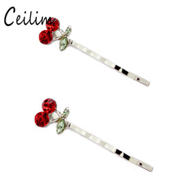 Wholesale Korean Hair Style Girls - Cute Cherry Corrugated Hair Clips Hairpin Sweet Women Girls Barrettes Korean Style Red Crystal Bow Hairpin Twist Hair Jewelry Accessories