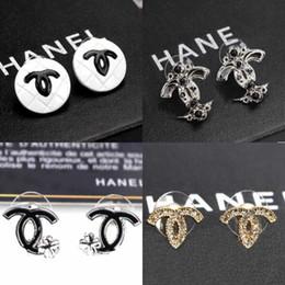 Wholesale Gold Layer Earrings - Luxury Brand Letters Logo Design Earrings Double Layers Crystal Enamel Drop Dangle Ear Stud Clips Women Wedding Prom Jewelry Accessories