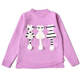 2019 gatinhos de camisola 2018 outono inverno moda meninas crianças escola camisola de tricô bordado dos desenhos animados gatinho camisola para a criança crianças roupas desconto gatinhos de camisola