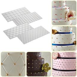 bordas de bolo de fondant Desconto KECTTIO 4 pçs / set Grid Transparente Textura Mat Fondant Bolo Mould Border Decoração Ferramenta