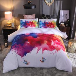 Set di biancheria da letto di vari colori online-Set biancheria da letto bianca Queen Size colorato Handprint Pattern Copripiumino Set King Soft e confortevole Luxury Textiles tessili per la casa