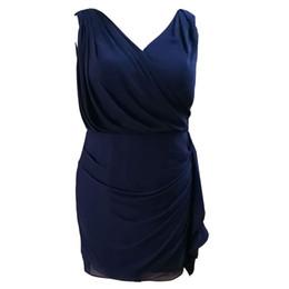 Sous le genou robes tailles plus en Ligne-Vente chaude Plus La Taille Bleu Au Genou Bleu Sans Manches Mère De La Robe De Mariée En Stock Sous 100