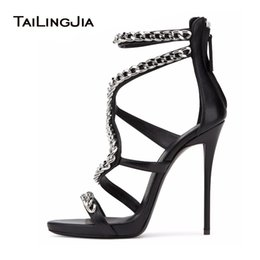 Wholesale High Heel Sandals Sexy Strappy - Women Sexy Red High Heel Sandals with Chain Black Strappy Extremely High Heels Ladies White Stiletto Summer Evening Dress Shoes