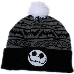 5bd221c3756 jack hat Coupons - the Night Before Christmas Jack Skellington Skull Cotton  knitting Beanie Cap Baby