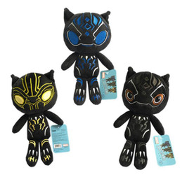 Wholesale Superheroes Figure Toys - Black Panther Avengers Plush Toy 25cm Stuffed Doll Action Figure Superhero Cartoon Toys Movie Dolls OOA4736