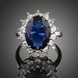 Deutschland Neue Ankunft Männer Frauen Mode Schmuck königlichen Saphir Diamant Legierung Prinzessin Zirkon Kristall Ring Liebe Valentinstag Weihnachten Festival Geschenk Versorgung