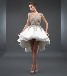 Wholesale tiered hi lo gown - Dubai Arabic Short Wedding Dresses Ball Gown Sheer Neck Hi-lo Backless Lace Applique Wedding Bridal Gowns Summer Boho Beach Bridal Dress