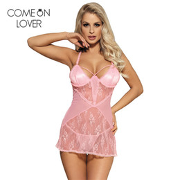 ebd8dc0584 2019 camisa de halter Comeonlover encaje transparente lencería erótica  trajes de porno sexy gran tamaño sexy