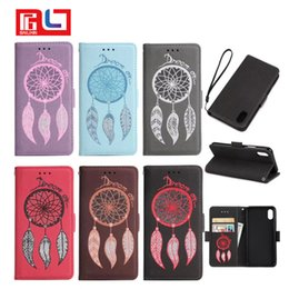 Wholesale Iphone Flower Flip Case - For Apple iphone 8 X Samsung s7 s8 s9 Luxury Retro printing Campanula Flower PU leather case Wallet Flip Stand cover