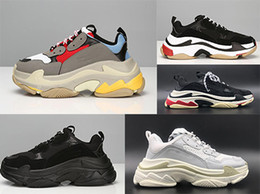 Wholesale new sneaker high heels - 2018 Last Unveils New Triple S Running Shoe Man Woman Sneaker High Quality Mixed Colors Thick Heel Grandpa Trainer Shoes