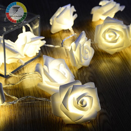 Wholesale Rose Fairy String Lights - Rose Flower Fairy String Lights Simulation Foam 10 LED Light Strings For Home Decor Supplies Hot Sale 7cx B
