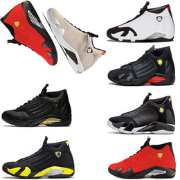 Wholesale red laces candy - basketball shoes 14 14s Black Toe Fusion Varsity Red Suede Thunder Men Basketball Shoes Cool Grey DMP Candy Cane Sneakers szie us 7-13