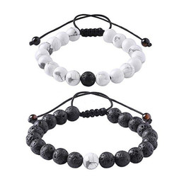 Wholesale Bead Sellers - 10mm Adjustable Long Distance Relationship Genuine Stones Mala Beads Couple Oil Diffuser Bracelet Christmas Gift Top Seller Preferred D426S