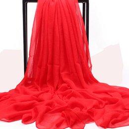 Écharpe en soie solide en été en Ligne-Été solide foulard en soie femmes foulards en mousseline de soie crème solaire dames fécharpes foulards femme châle foulard de marque de luxe