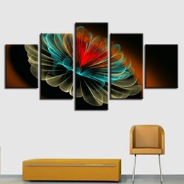 Wholesale red floral wall art - Wall Art Decor Living Room Modular Abstract Canvas Picture Poster 5 Pieces Red Yellow Green Flower Paintings HD Prints Framework