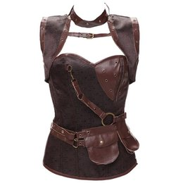 bones clothes Coupons - Plus Size 6XL Punk Corset Faux Leather Steel Boned Gothic Clothing Waist Trainer Basque Steampunk Corselet Cosplay Outfits Brown