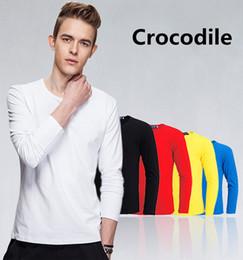 Wholesale Men Tshirt Collar Short Sleeve - T-Shirt Men 2018 Spring Autumn New 100% Cotton T Shirt Men Crocodile Embroidery Solid Color Tshirt Mandarin Collar Long Sleeve Top Tees