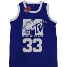 palla di musica Sconti Will Smith # 33 Jersey Music Television First Annuale Rock N'Jock B-Ball Jam 1991 Uomo Colore blu Doppio tacco loghi Nome Numero IN MAGAZZINO